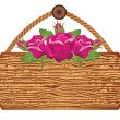 Wooden signboard with roses — Stock Vector