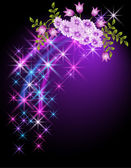 Glowing background with flowers and stars — Stock Vector