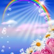 Rainbow and flowers — Stock Photo #6108614