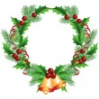 Stock Vector: Christmas decorative wreath