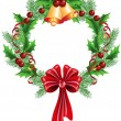 Christmas decorative wreath — Stock vektor
