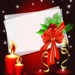 Christmas background with candle — Vector de stock