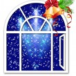 Stock Vector: Christmas window