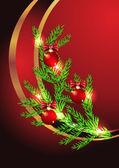 Jul bakgrund med gran kvist — Stockvektor