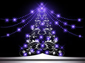 Noel gümüş kürk-ağaç — Stok Vektör