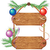 Wooden signboard with Christmas decorations — Stock Vector