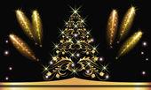 Altın christmas kürk-ağaç selam ile — Stok Vektör