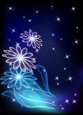 Transparante bloemen en sterren — Stockvector