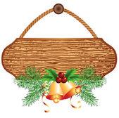 Fondo de navidad con campanas — Vector de stock