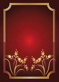 Fond rouge avec ornement doré — Vecteur