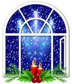 Christmas window with candles — Stock Vector