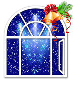 Christmas window — Stock Vector