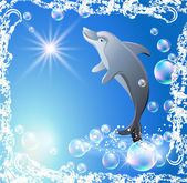 Dolphin and bubbles — Stock Vector