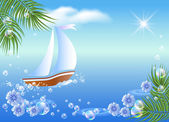 Sailboat, palm, clouds and sun. — Stock Vector