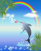 Dolphin och fjäril — Stockvektor