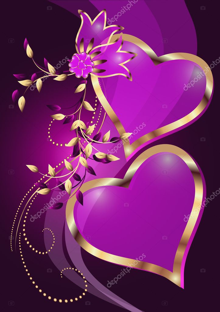 Card with decorative hearts  Stock Vector #6101087