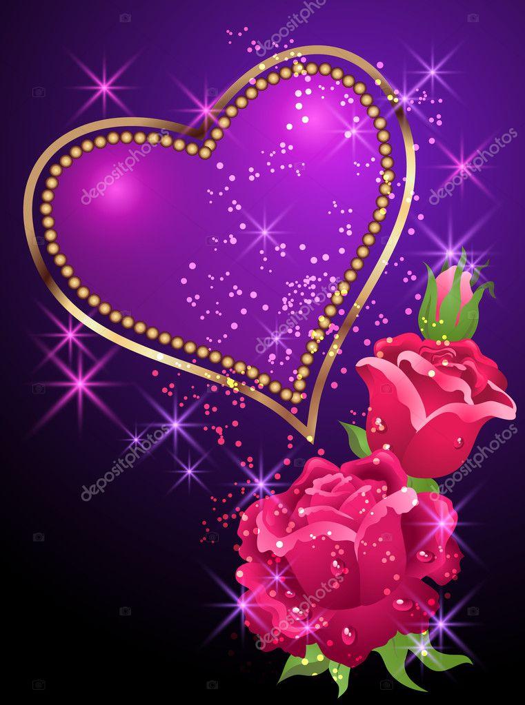 Heart Roses And Stars Stock Vector 169 Marisha 6107718