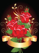 Roses and golden ribbon — Stock Vector