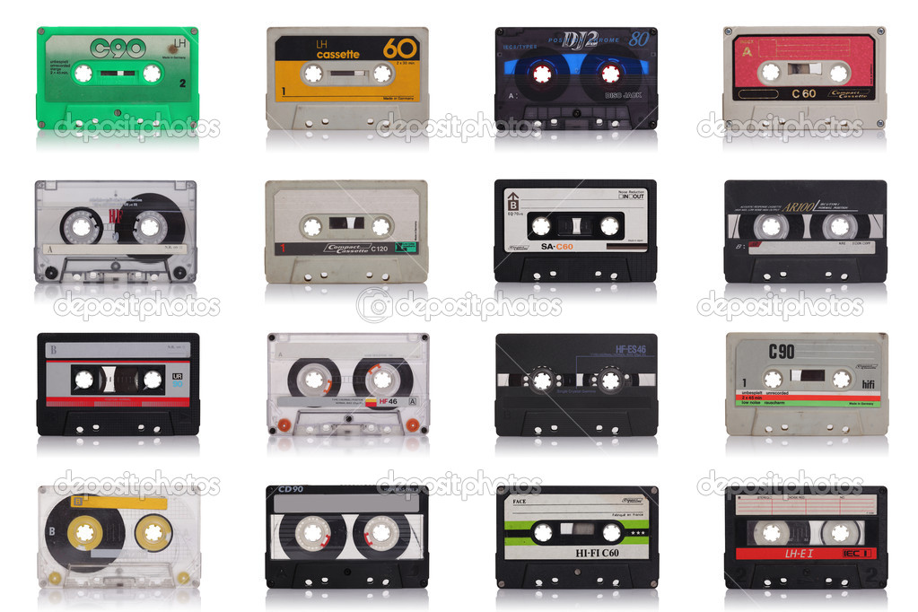 Nice collection of old music cassette isolated on white background  Stock Photo #5556076