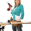 Smiling woman carpenter — Stock Photo