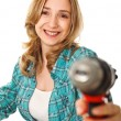 Happy handywoman — Stock Photo