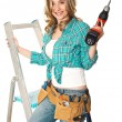 Handywoman at work — Stock Photo