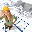 Female worker on 3d blueprint — Stock Photo