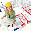 Stock Photo: Woman on blueprint