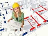 Woman on blueprint — Stock Photo