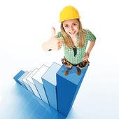 Frau an der Spitze — Stockfoto