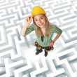 Woman in a maze — Stock Photo