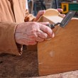 Senior carpenter detail — Stock Photo