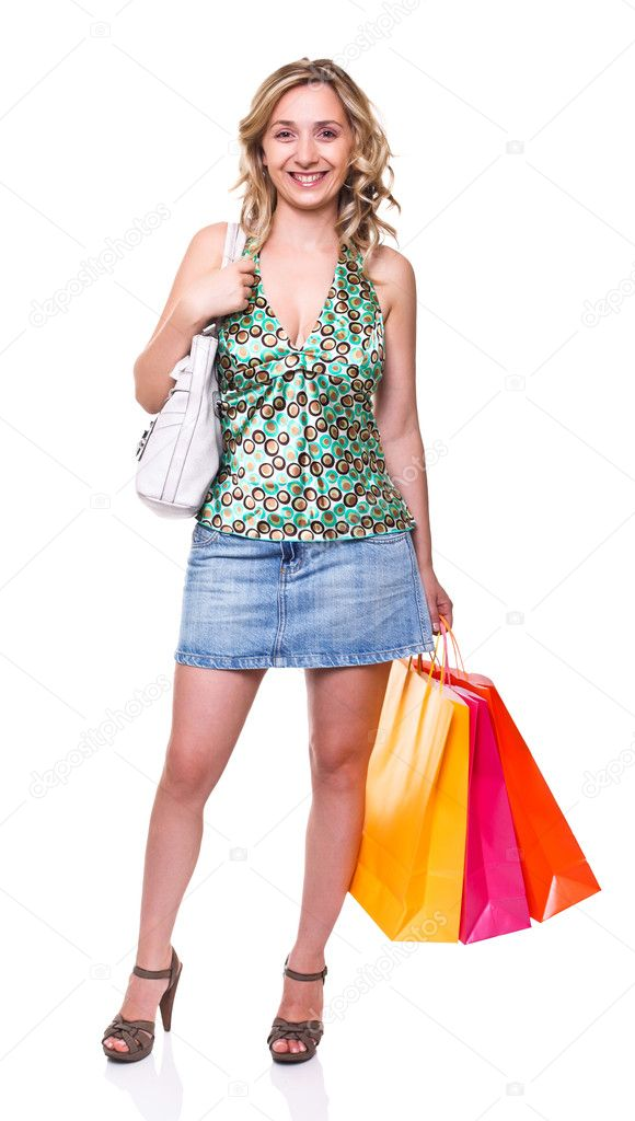 Portrait of young woman with shopping bag — Stock Photo #6015302