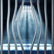 Prison 3d and bended metal bar — Stock Photo #6264204