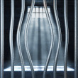 Prison 3d and bended metal bar — Stock Photo