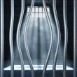 Prison 3d and bended metal bar - Stockfoto