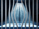 Prison 3d and bended metal bar — Stockfoto