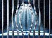 Věznice 3d a ohýbané kovové bar — Stock fotografie