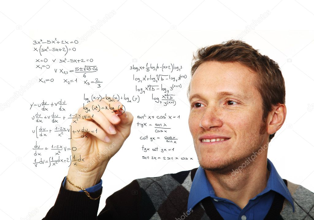 Portrait of young man writing on glass board isolated on white — Stock Photo #6264067