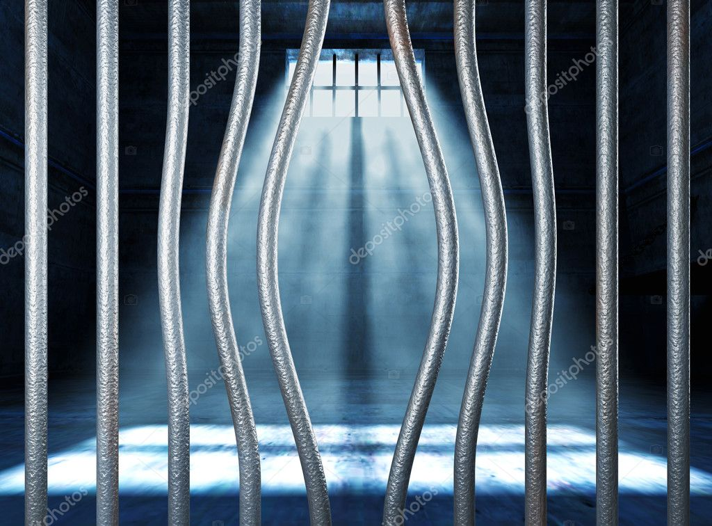 Prison 3d and bended metal bar background — Stock Photo #6264204