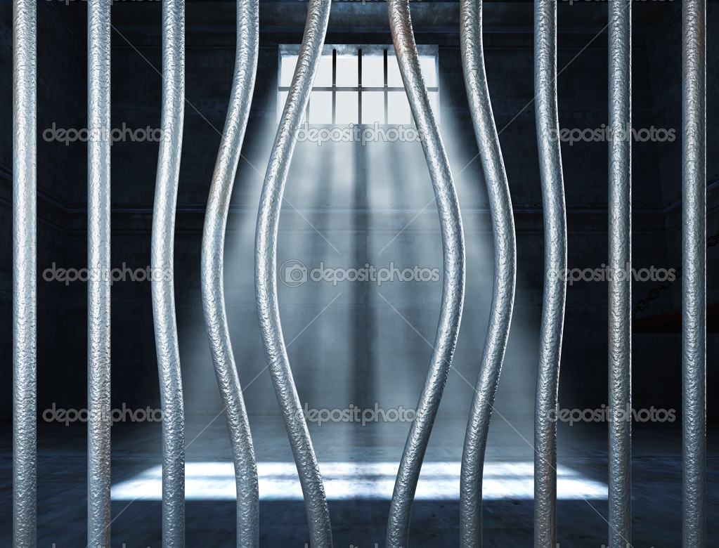 Prison 3d and bended metal bar background — Stock Photo #6264260