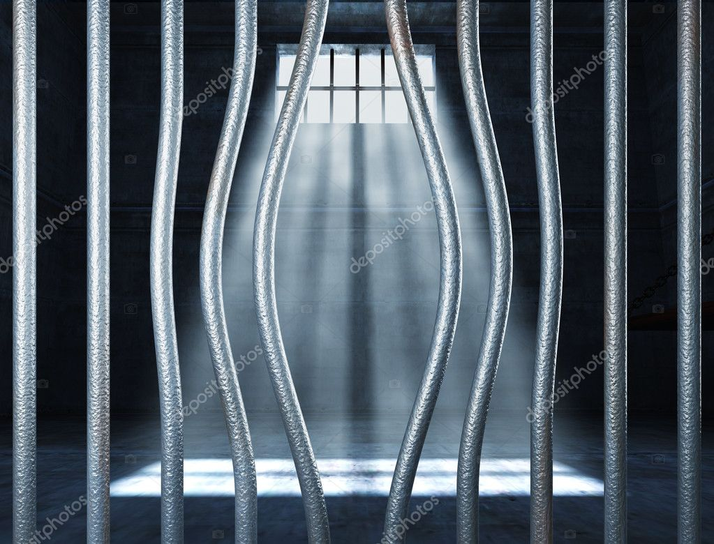 Prison 3d and bended metal bar background — Stockfoto #6264260