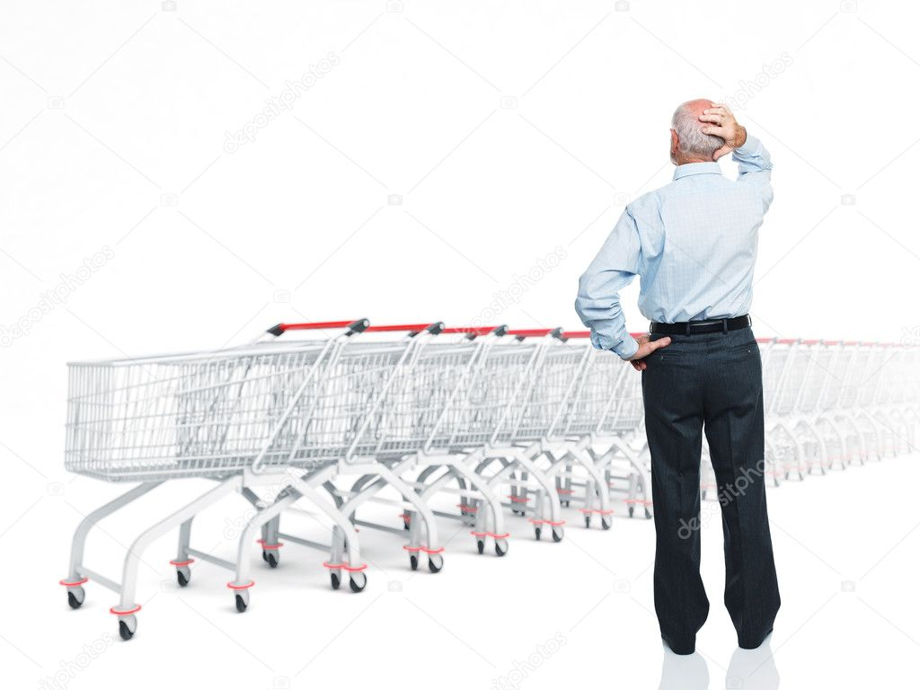 Standing man rear view and 3d trolley — Stock Photo #6714504