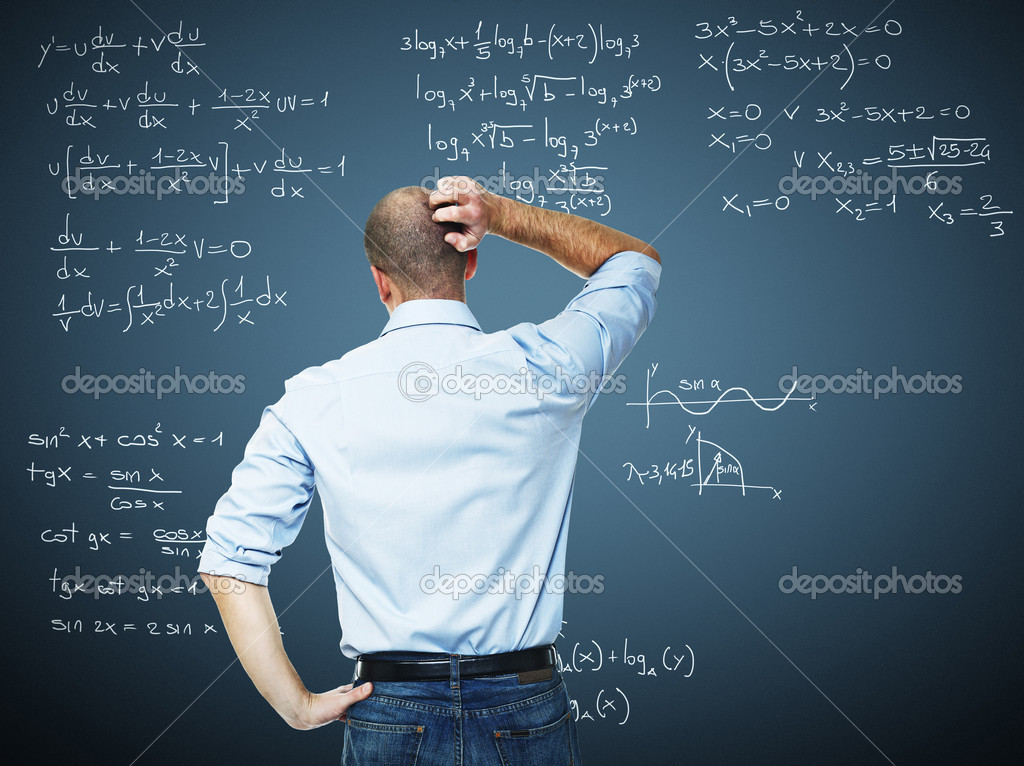 Young teacher and blackboard with mat write — Stock Photo #6714730
