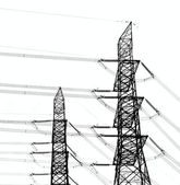 Two High Voltage Power Masts — Stock Photo