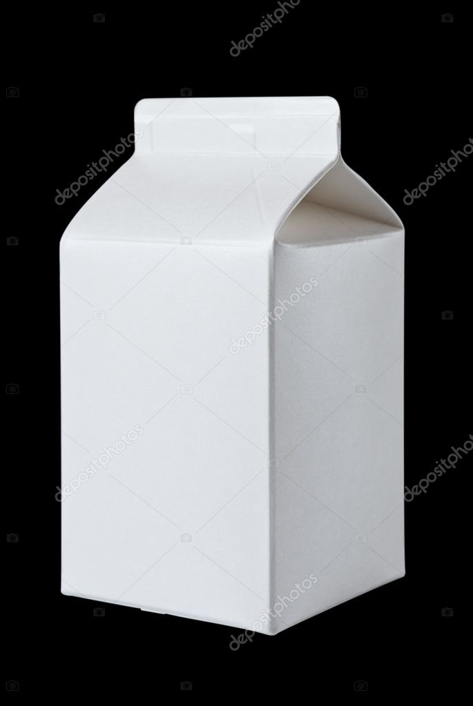 Milk Box per half liter, isolated on black background — Stock Photo #5420867