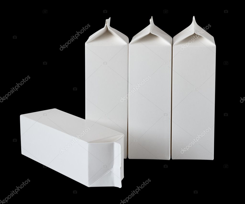 Milk Box per liter, isolated on black background — Stock Photo #5610553