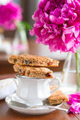 A cup of tea and biscuits — Stock Photo