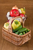 Fresh vegetables in basket — Stock Photo