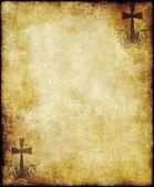 Old parchment paper with cross — Stock Photo